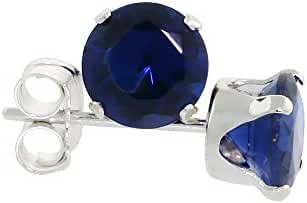 Sterling Silver Cubic Zirconia Sapphire Earrings Studs 5 mm Navy color 1 carat/pair