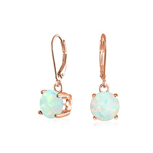 Simple Round Solitaire White Created Opal Leverback Dangle Drop Earrings Rose Gold Plated 925 Sterling ()