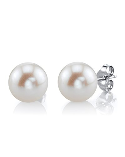 - THE PEARL SOURCE 14K Gold 10-11mm Round White Freshwater Cultured Pearl Stud Earrings for Women