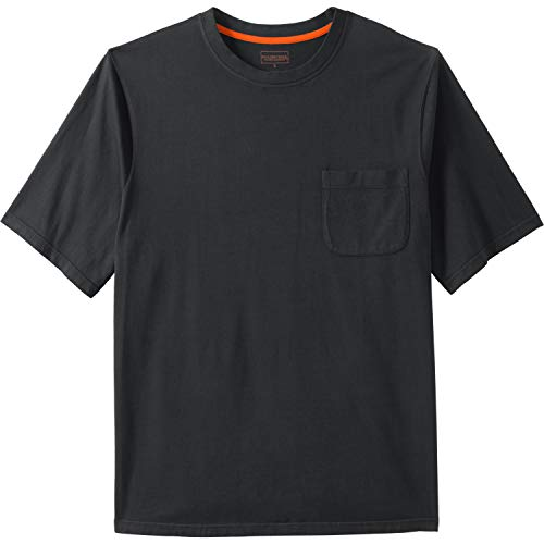Boulder Creek Men's Big & Tall Heavyweight Crewneck Pocket T-Shirt, Black Pigment Big-7XL