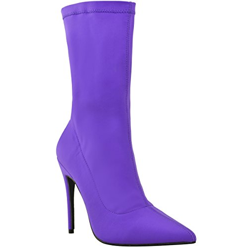 Heels Toe Pointed Shoes Lycra High Fashion Purple Ladies Lycra Thirsty Womens Stretch Bright Ankle Stiletto Boots HpTPzqwHv