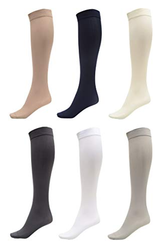 - 6 Pack of Women Trouser Socks with Comfort Band Stretchy Spandex Opaque Knee High, Dark Grey, White, Navy, Silver, Beige, Off White