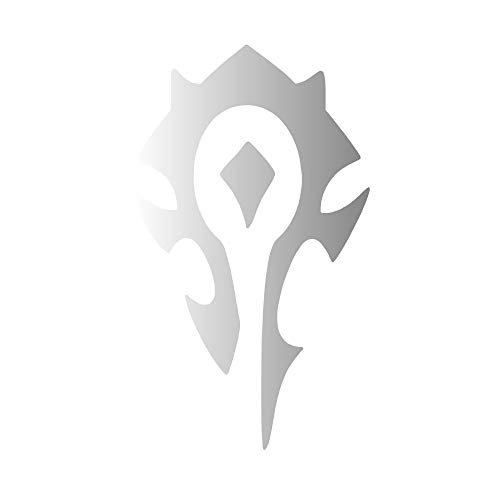 Horde World of Warcraft Symbol [Pick Any Color] Vinyl Transfer Sticker Decal for Laptop/Car/Truck/Window/Bumper (8in x 5in (Large Car Size), Silver)