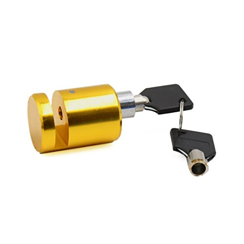 uxcell Gold Tone Motorcycle Scooter Brake Wheel Anti Thief Security Disk Lock w 2 Keys by uxcell (Image #1)