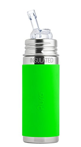 Pura Kiki 9 oz / 260 ml Stainless Steel Insulated Bottle with Silicone Straw & Sleeve, Green (Plastic Free, NonToxic Certified, BPA Free)