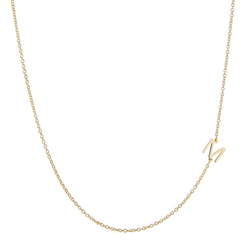Initials Gold Necklace - Deidreamers Side Mini Initial 14k Gold Over Sterling Silver Necklace M