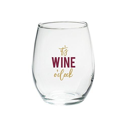 Kate Aspen 30023NA-WOC O' Clock 15 oz. Stemless Set (4) Wine Glasses, Clear