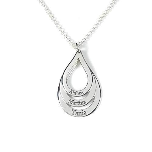 Collar tres aros formas con nombres personalizados en plata de ley 925/1000.-RINCONDELARTESANO.ES