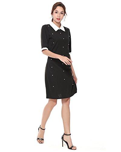 3ba29cdcd2ad ... Kenancy Damen Partykleid Kurzarm Weiß Kragen Abendkleid Kontrast Casual  Business Kleid Schwarz mit weißen Perlen DyDwi6p ...