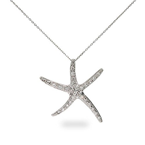 Sterling Silver Pave CZ Starfish (Pave Starfish Pendant)