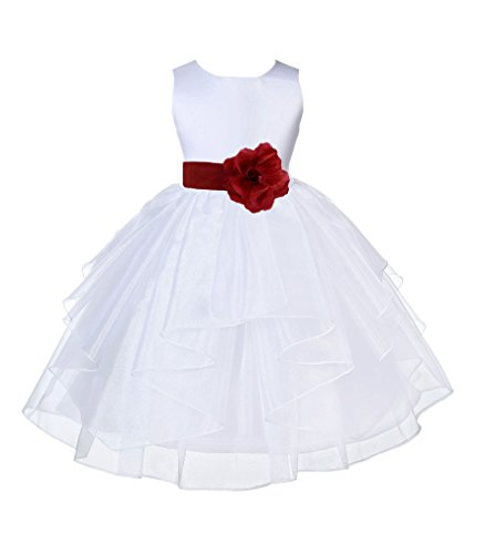 ekidsbridal White Satin Shimmering Organza Flower Girl Dress Christening Dresses 4613S S