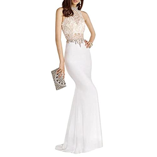 Hot Women Mermaid Party Dress Halter Beaded Crystal Lace Evening Dress Maxi Gown