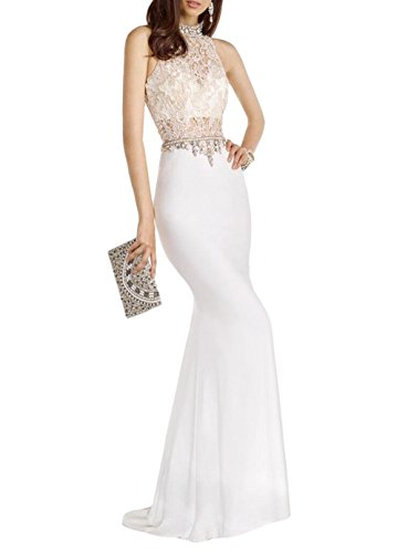 Gown Lace Evening Halter (Hot Women Mermaid Party Dress Halter Beaded Crystal Lace Evening Dress Maxi Gown)