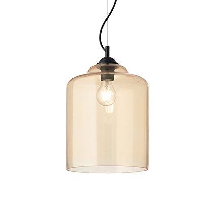 Lampada A Sospensione Ideal Lux Art Bistro Sp1 Square Ambra