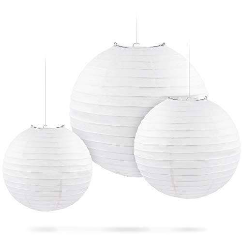 Genie Crafts 24-Pack White Hanging Paper Chinese/Japanese Ball Lanterns for Decoration, Weddings, Parties, Birthdays, Assorted Sizes