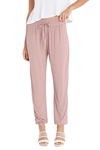 Poshsquare Women's Jersey Knit Stretch High Waisted Tie Front Sports Jogger Pants Mauve - Cycling Jersey Outlet