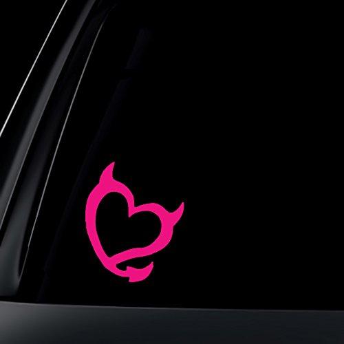 (Devil Heart Car Sticker / Decal - Hot Pink)