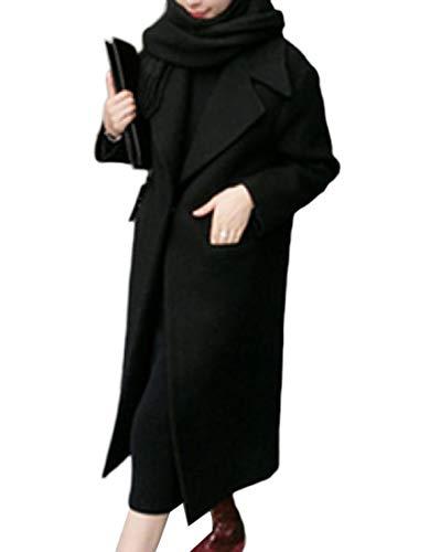 Howme-Women Classic Fall Winter Turn-Down Collar Long Woolen Coat Black