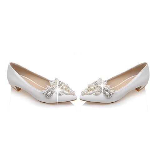 Balamasa Girls Tallone Elettroplate Tallone In Vetro Con Diamante Imitato In Pelle Pompe-scarpe Bianche