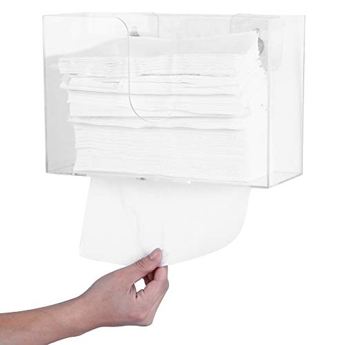 - Sooyee Acrylic Paper Towel Holder with Adhesive,No Drilling Wall Mount & Countertop Toilet Paper Dispenser for Kitchen and Restroom Decor - Holds Multifold Paper Towel,C Fold,Trifold Hand Tissue