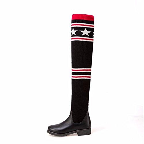 muslo e las botas lana otoño invierno en 65CM moda Dama de High botas estrellas botas c1qEIF4
