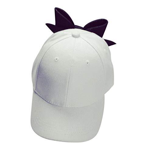 Hanican Fashion Women Men Hats Solid Bow Baseball Caps Couple Hat Hip Hop Flat Cap (White)