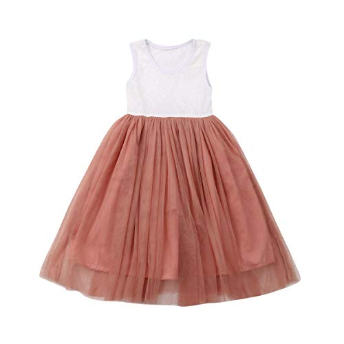 Baby Toddle Girls Tutu Dress Short Sleeves&Sleeveless Stripe Tulle Skirts A-line Dress (Pink-Sleeveless, 2T)