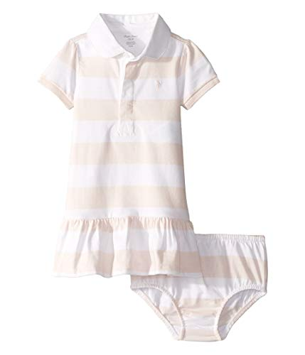 Ralph Lauren Baby Girl Cotton Jersey Rugby Dress Set (Delicate Pink/White, 12 Months)