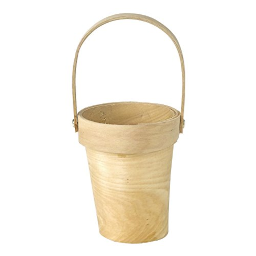 Time Concept Mercato Natural Wooden Plant Basket with Handle - Cream, Tall - Home Decor