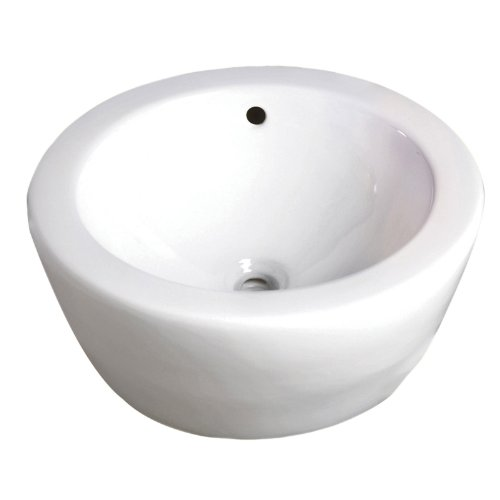 (Decolav 1420-CWH Round Vitreous China Above-Counter Vessel with Overflow, White)