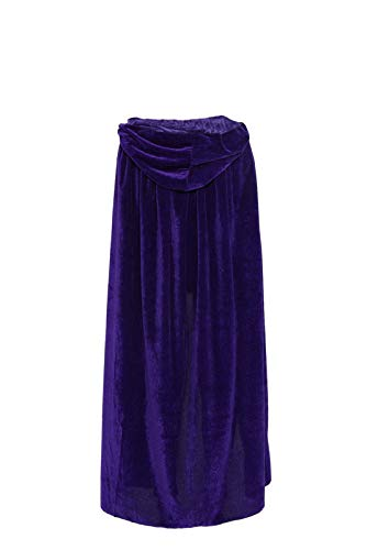 ECITY Unisex adult Costume Velvet Hooded Cloak Role Play Halloween Xmas Party Cape (Medium (51.2 inch=130cm), Purple) -