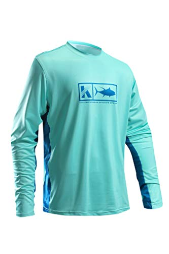 Men's Performance Vented Fishing Shirt Long Sleeve Shirt Mesh Side Vents UPF 50 Dye Sublimation Print Turquoise ()