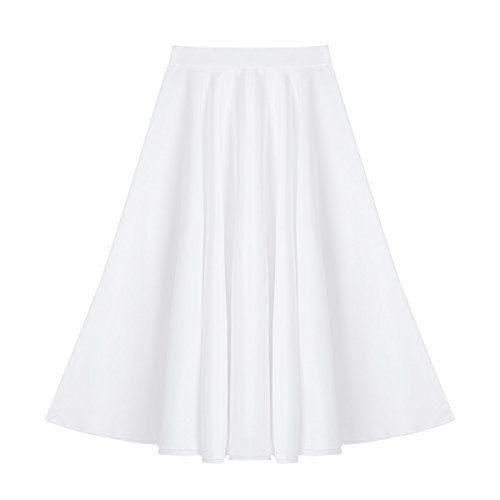 tage Summer Daily Full Circle Long Skirt Liturgical Praise Spirit Dance Wear White 8 ()