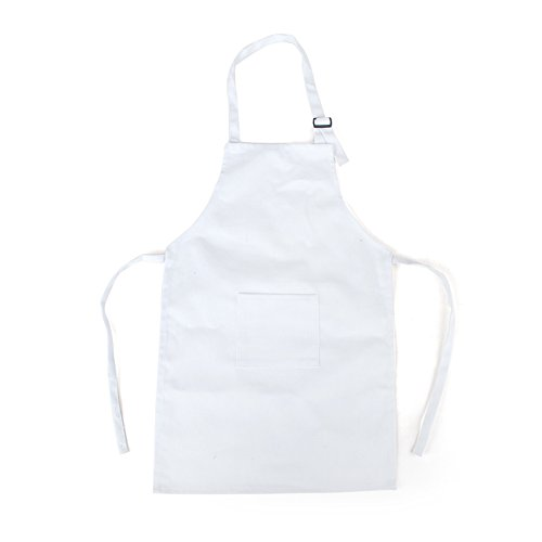 Opromo Colorful Cotton Canvas Kids Aprons with Pocket, Artist Apron & Chef Apron(S-XXL) WHITE-XL (White Cook Apron compare prices)