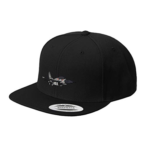 (Snapback Baseball Hat F-16 Fighting Falcon Embroidery Unit Acrylic Cap Snaps - Black, Design Only )