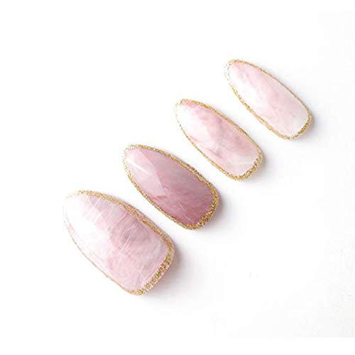 24pcs/set Pink Stone Texture Ellipse Shape Short Fake Nail Full Cover Acrylic False Nails