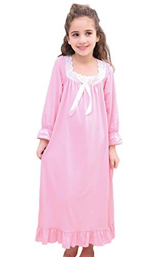 Horcute Girls Mixed-Cotton Long Sleeve Sleep Shirts Nightshirts Pajamas Nightgown Pink 150# 11-12Y