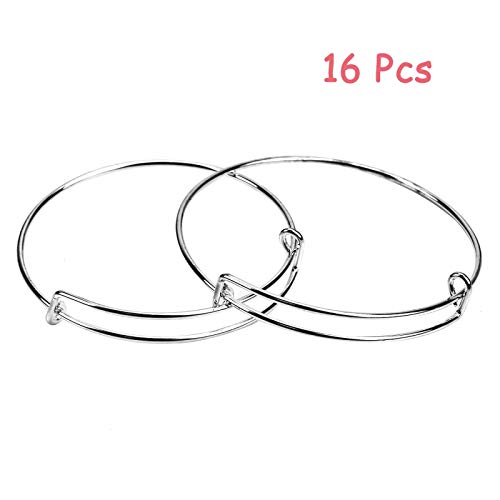 Timoo 16 Pcs Metal Blank Bangles, Stainless Steel Adjustable Expandable Wire Blank Bracelets for Women's DIY Jewelry Making (Sliver, 2 Sizes)