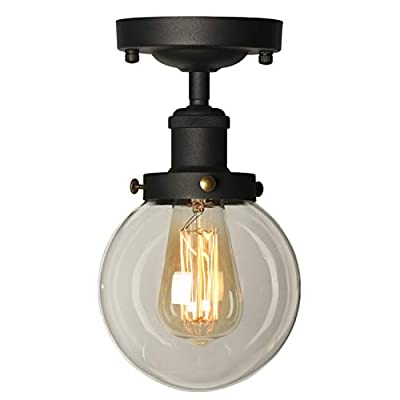 AILIN Industrial Vintage Classic Semi Flush Mount Ceiling Light Fixtures, Farmhouse Lighting Clear Glass Pendant Lighting Shade, Edison Style Metal & Glass Hanging Lights 1-Light ...