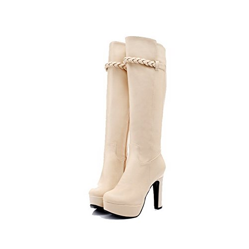 VogueZone009 Damen Rund Zehe Hoher Absatz Rein Weiches Material Stiefel mit Metallisch, Weiß, 43