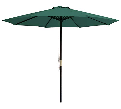 - SUNBRANO 9 Ft Wood Frame Patio Umbrella Outdoor Garden Cafe Market Table Umbrella Pulley Lift with Air Vent, 8 Ribs, Green