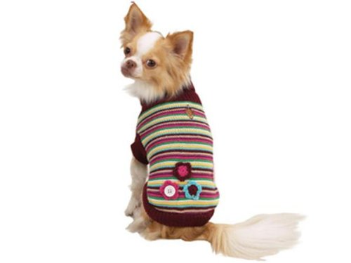 Zack & Zoey Brown Pink & Blue Striped Pearl Knit Dog Turtleneck Sweater with Button Flower Accents X-Small