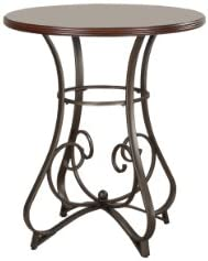 Powell Hamilton Pub Table, Brushed Faux Medium Cherry wood Matte Pewter Bronze metal