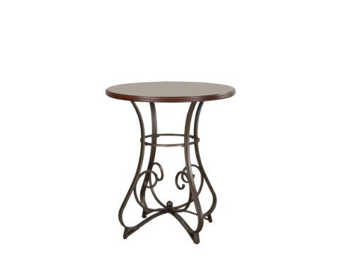 Bronze Pub Table - Powell 697-404 Hamilton Pub Table, Brushed Faux Medium Cherry Wood;Matte Pewter & Bronze Metal