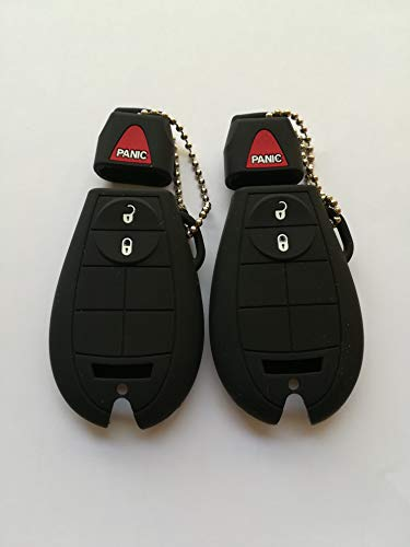 2pcs Black Fob Remote Key Case Cover Key Protector Jacket For 13 14 15 16 17 18 19 JEEP CHEROKEE Dodge RAM 1500 2500 3500 4500 GQ4-53T 68105081 56046953 68105083 ()