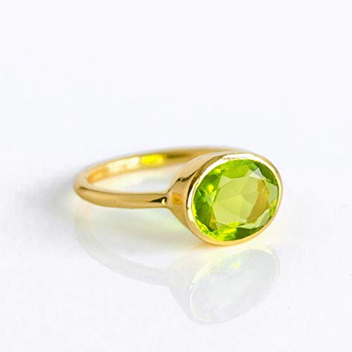 (Oval Peridot Quartz Ring Bezel Set in Vermeil Gold or Sterling Silver, August Birthstone Ring)