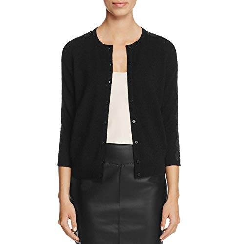 - cashmere C by Bloomingdale's Women's Lace-Trim Sleeves Cardigan Sweater, Black (X-Large)