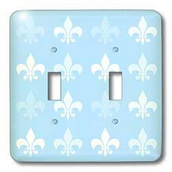 French Art Double Toggle Switch 3dRose lsp/_56317/_2 White and Pale Blue Fleur de lis