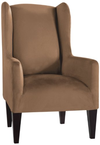Tailor Fit Stretch Fit Micro Suede Slipcover Furniture Protector for Wingback Chair, Camel by Tailor Fit