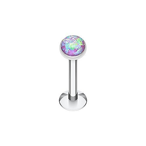 """Opal Glitter Shower Dome 316L Surgical Steel Labret Monroes (16G 5/16"""" Purple)"""